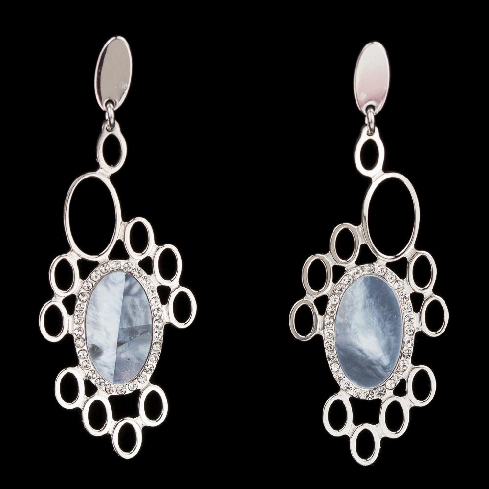 Zilveren oorbellen blauwe parelmoer
