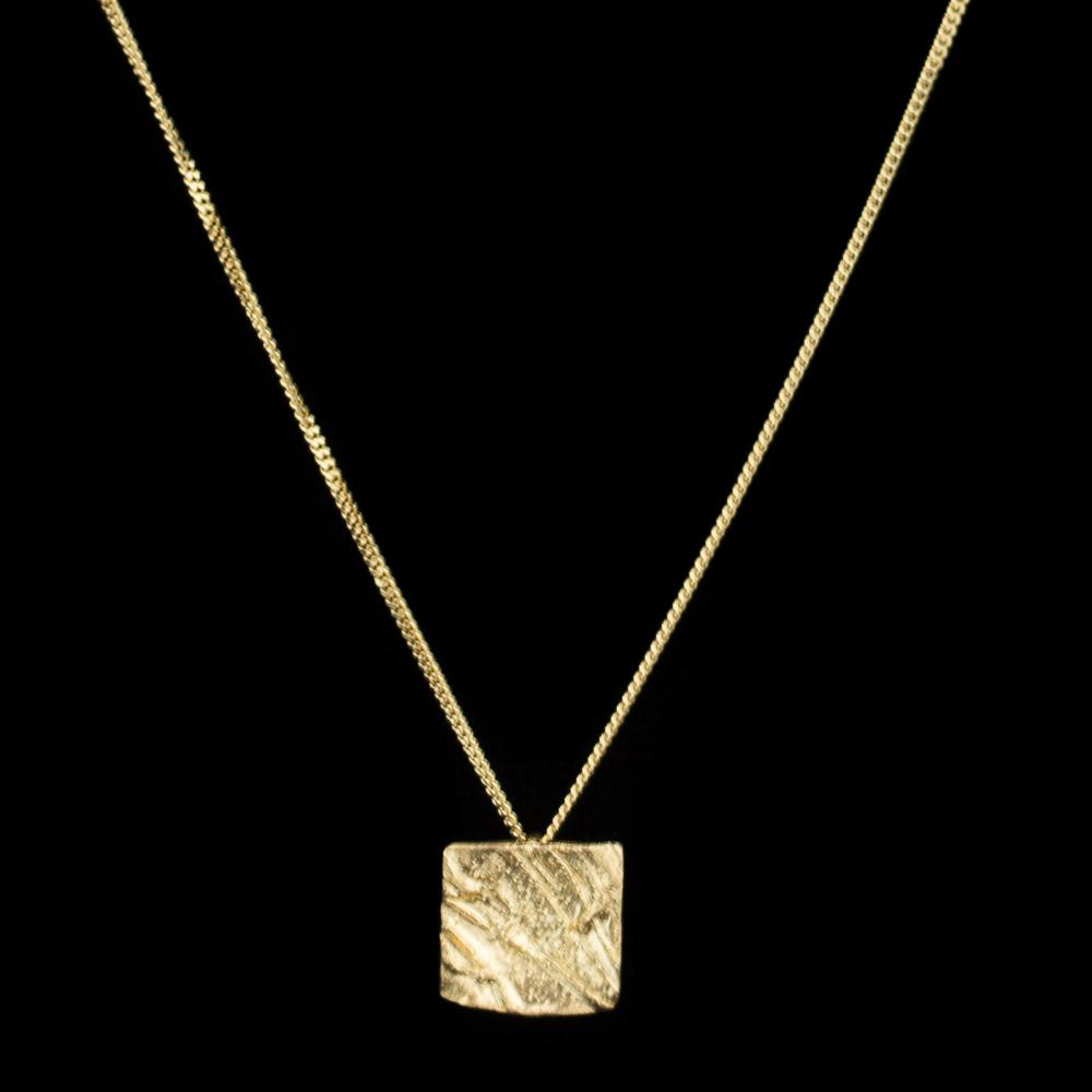 Geelgoud18Kt gediamanteerd vierkant hangertje zonder ketting