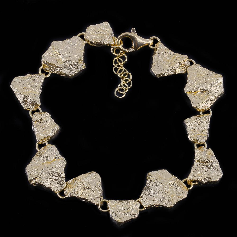 Steenvormige vergulde armband