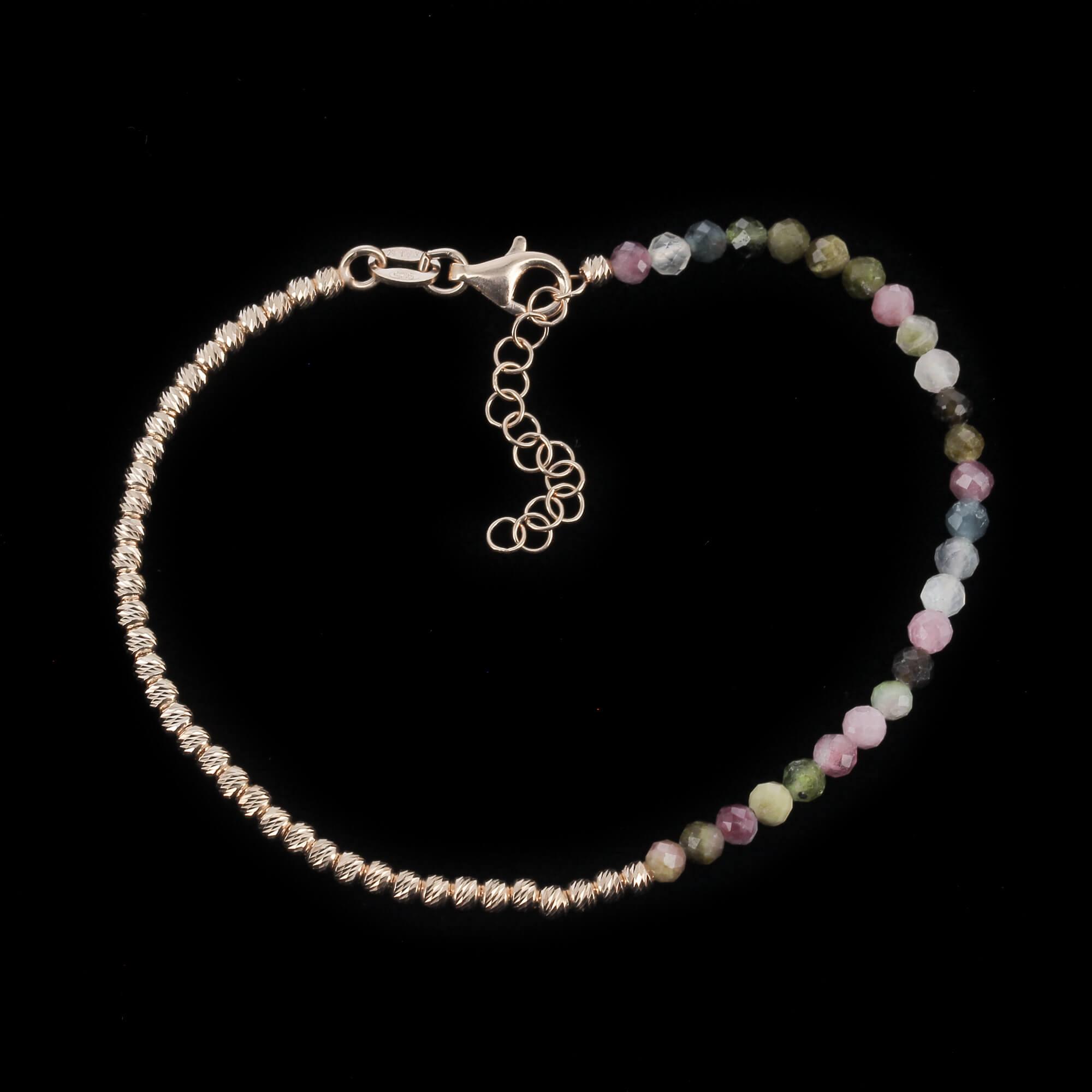Rosé armbandje 2,5 mm bolletjes met kleurstenen