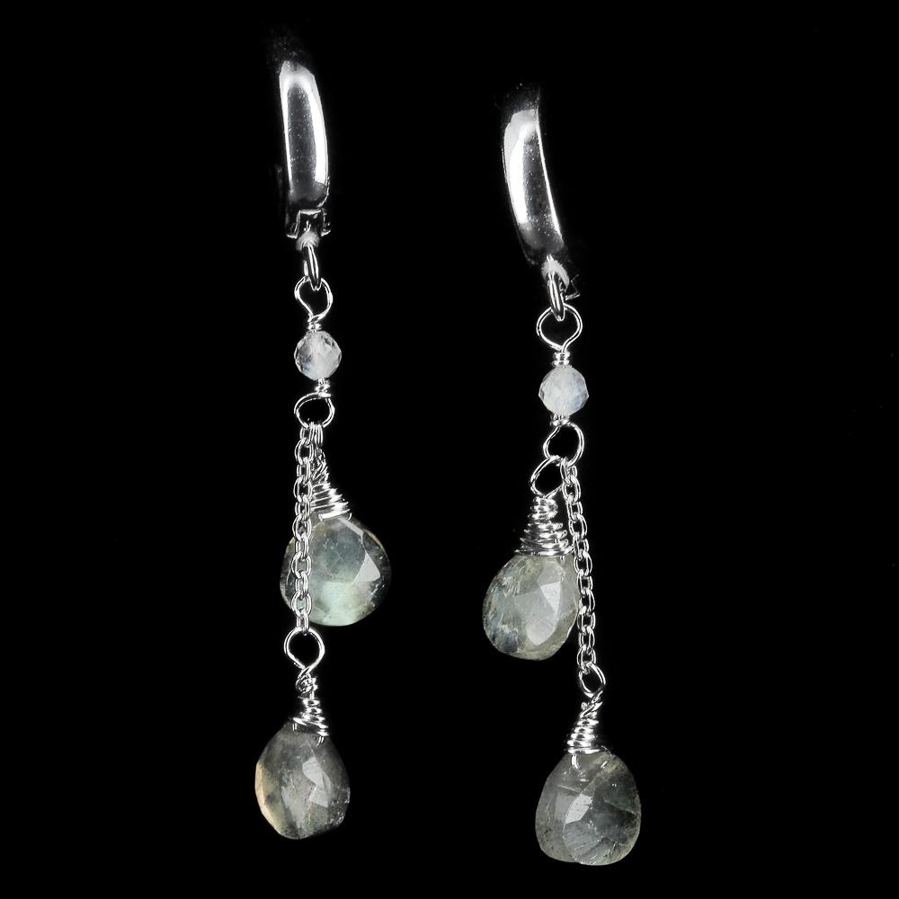 Afhangende zilveren oorbellen met labradoriet steentjes