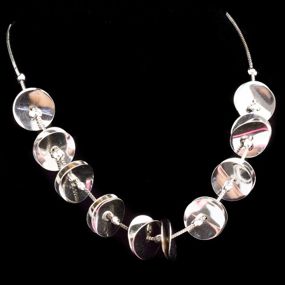 Grieks zilveren collier met ronde hangertjes