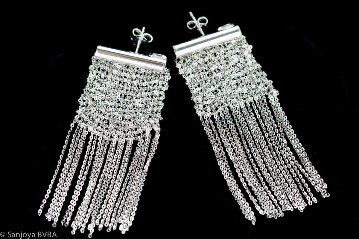 Zilveren oorbellen van meerdere kettinkjes