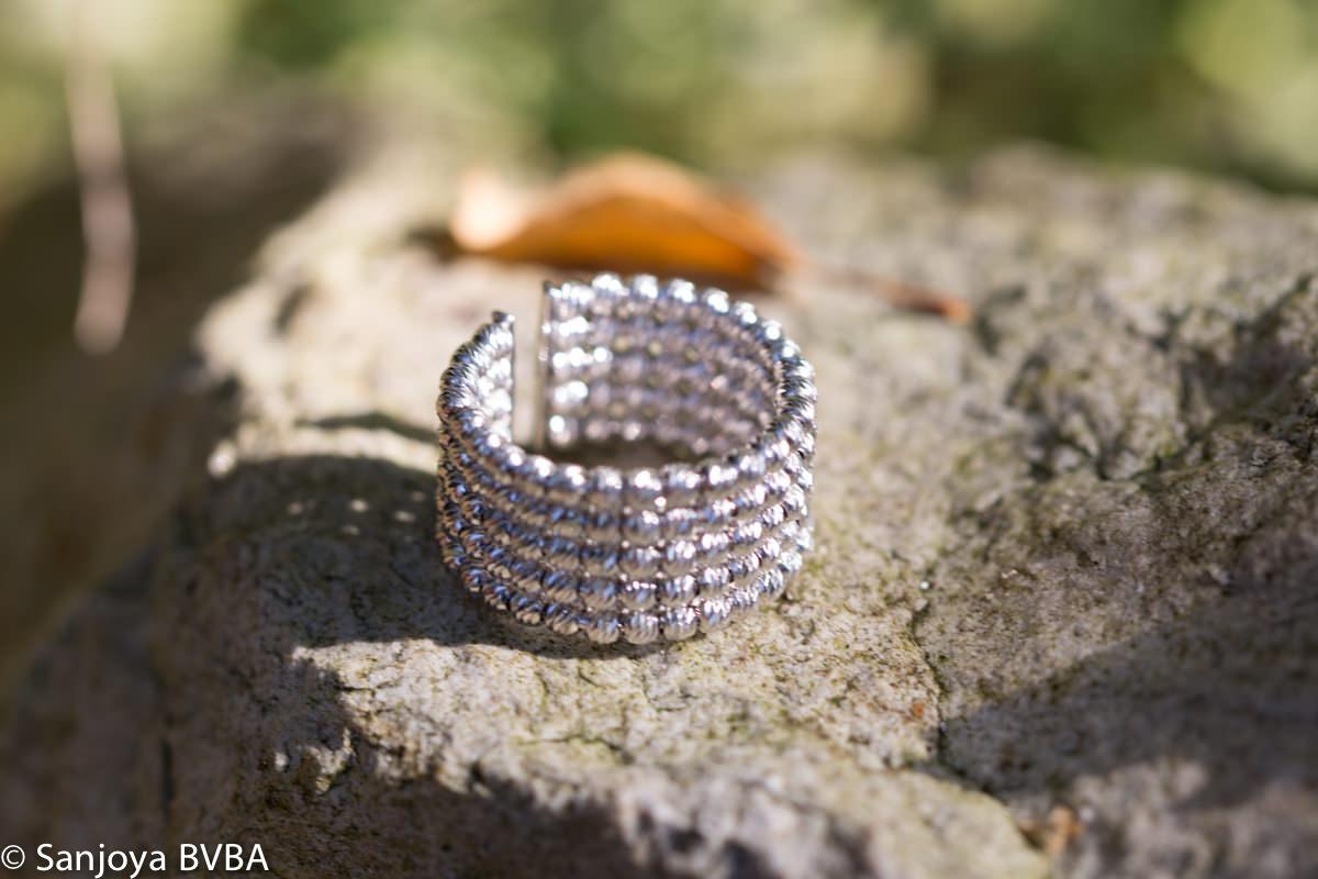 Italiaanse ring, 5 rijen en zilver
