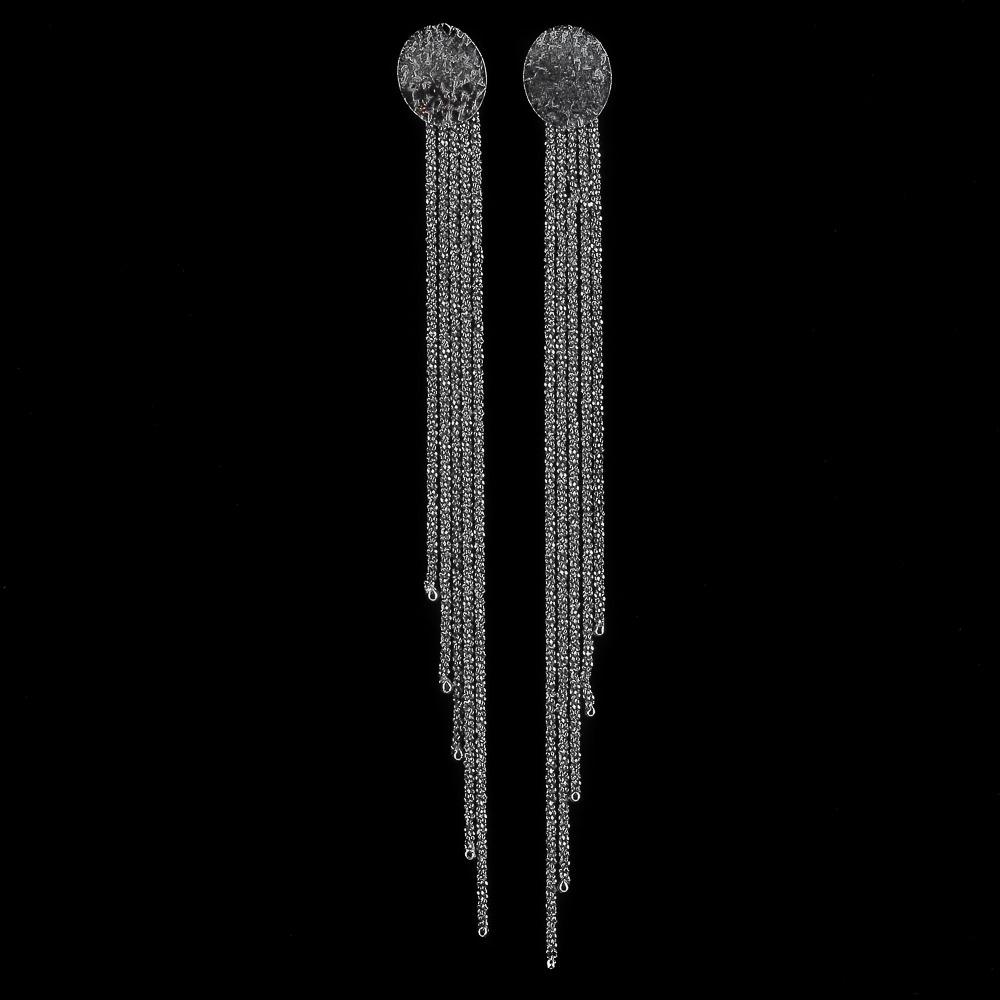 Sanjoya oorbellen, grijs, zwart en lang met steker