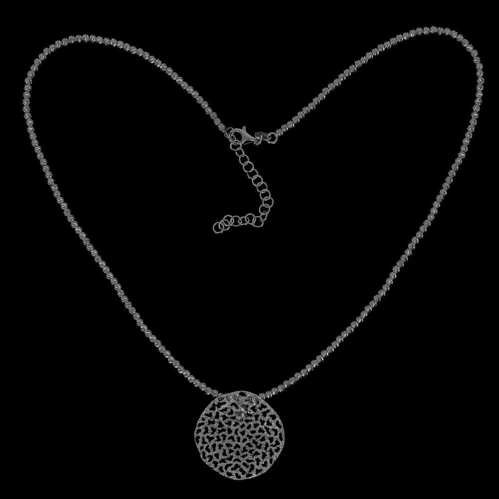 Verfijnde grijze hanger van zilver met schitteringen/ zonder ketting