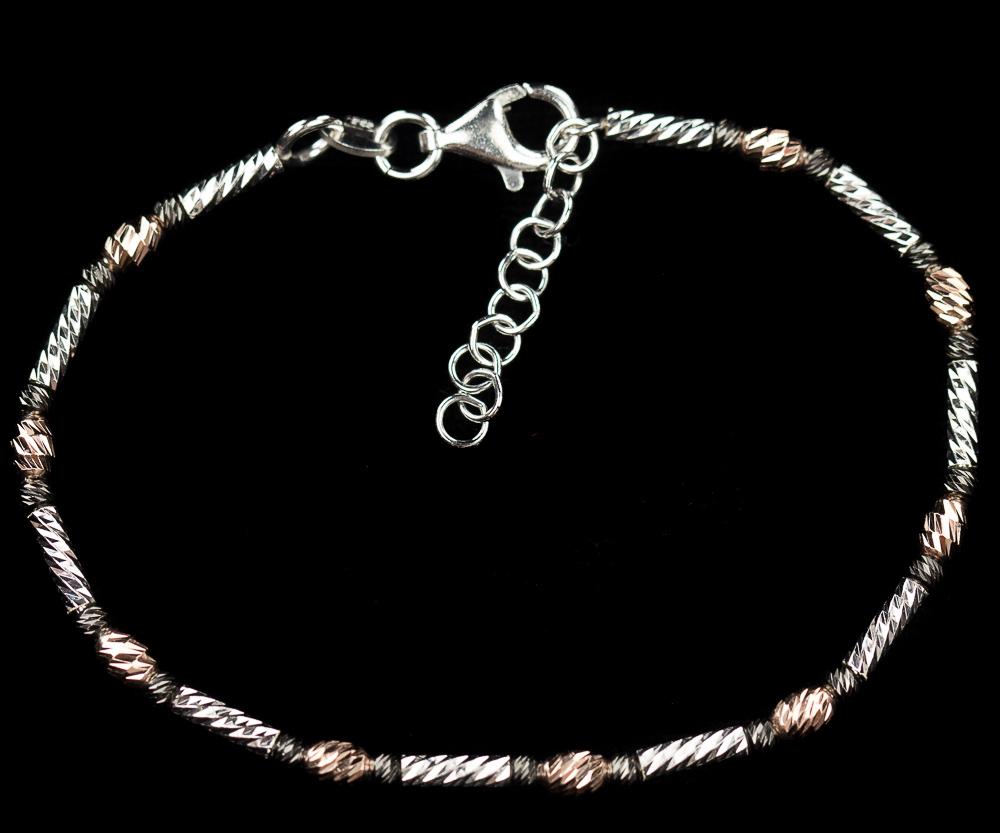 Italiaans driekleurig armbandje van rosé, zwart en zilver