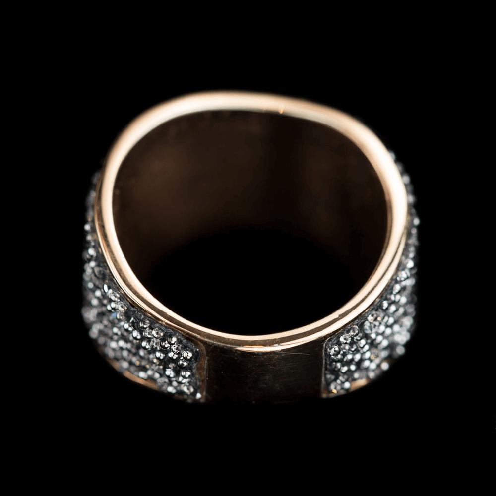 Zilveren ring van rosé en hematiet