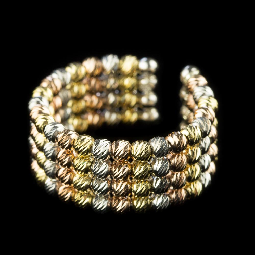Italiaans driekleurige zilveren ring, 4 rijen