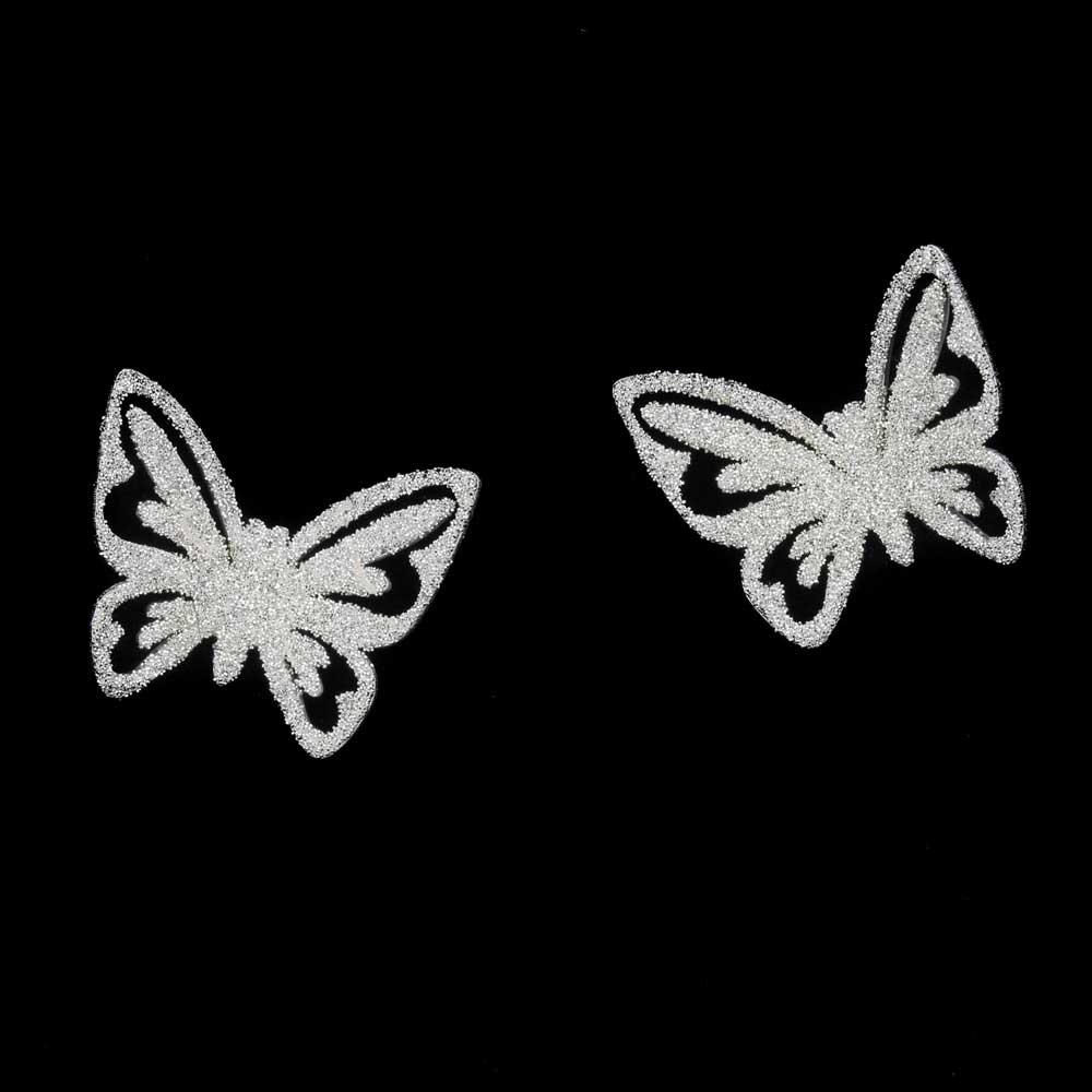 Schitterende zilveren vlinderoorbellen, gediamanteerd