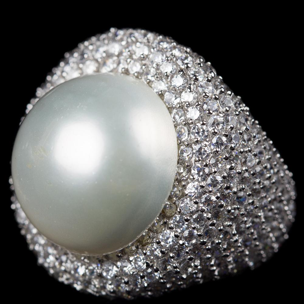 Zilveren ring met parel en zirkonia, Grieks design