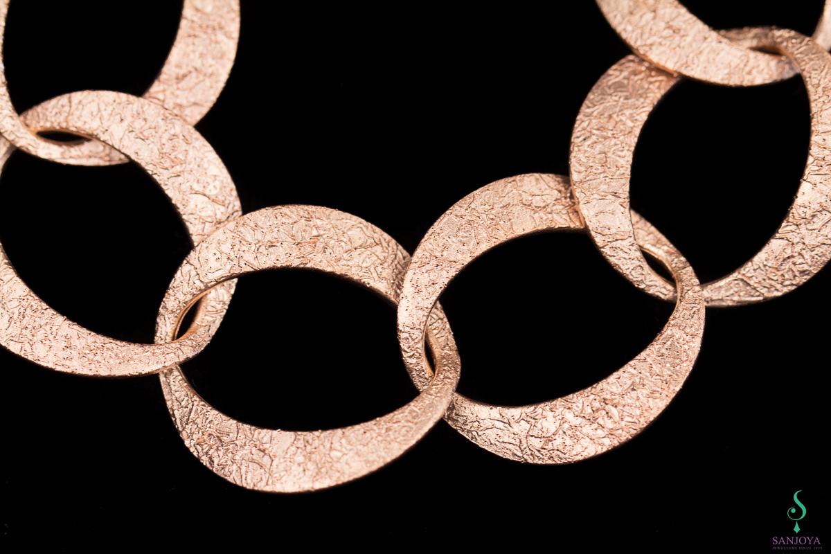 Rosé gediamanteerde schakelarmband