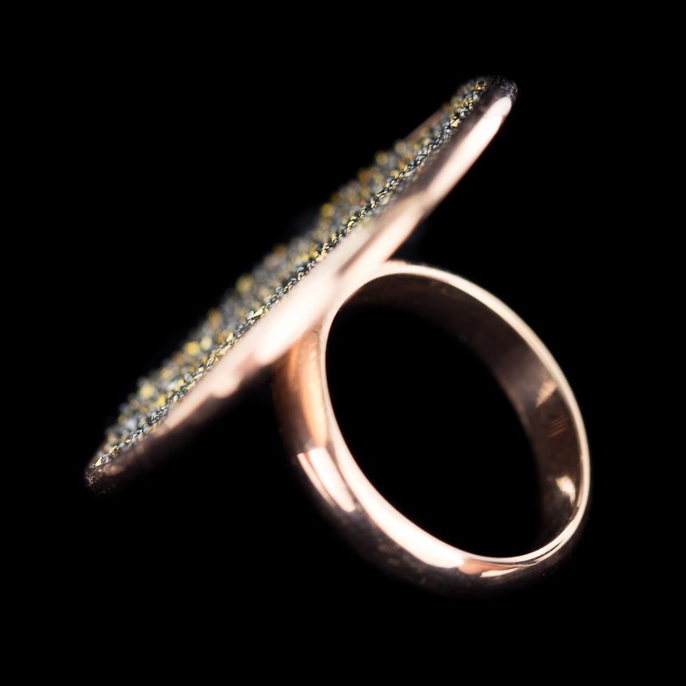 Grote zilveren ring van rosé en hematiet