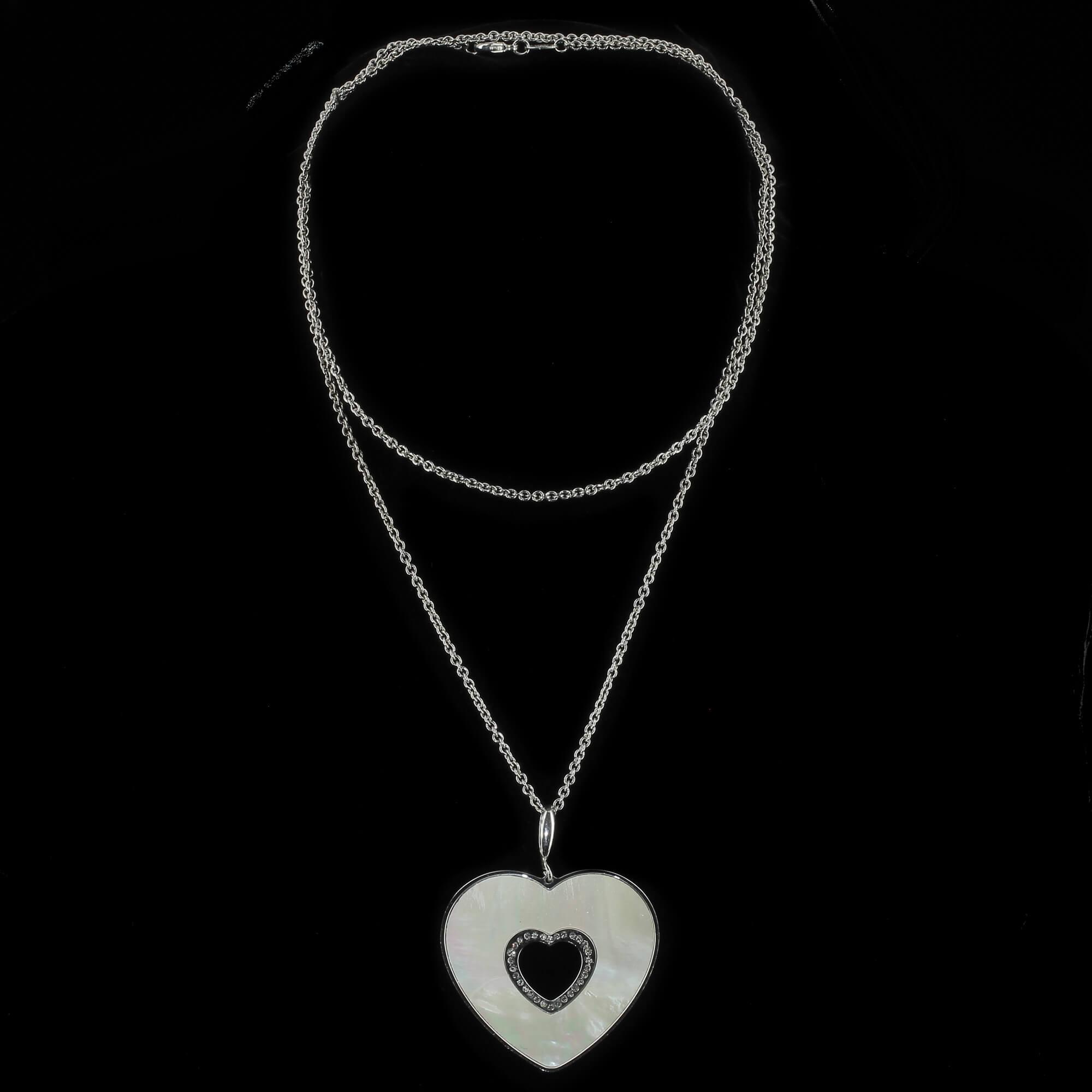 Italiaanse zilveren schakelketting met hartvormige hanger