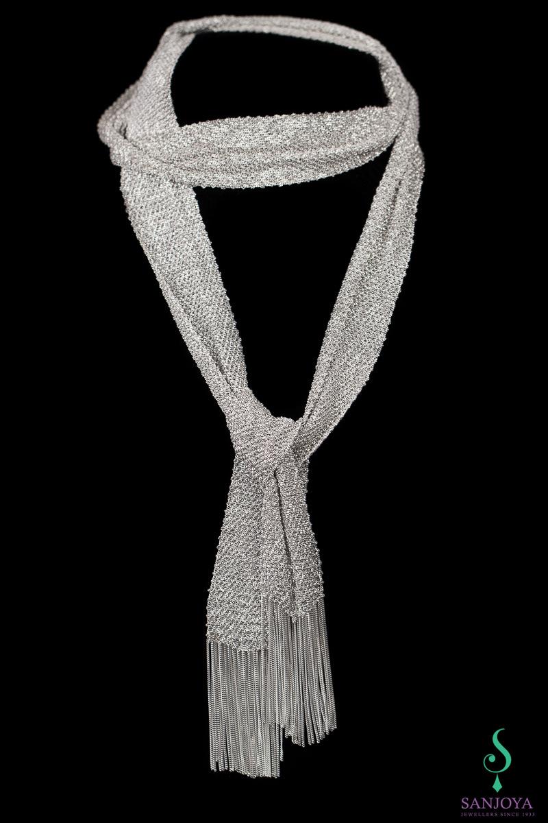 Zilveren sjaalketting, zwaarder & langer 'eye catcher'