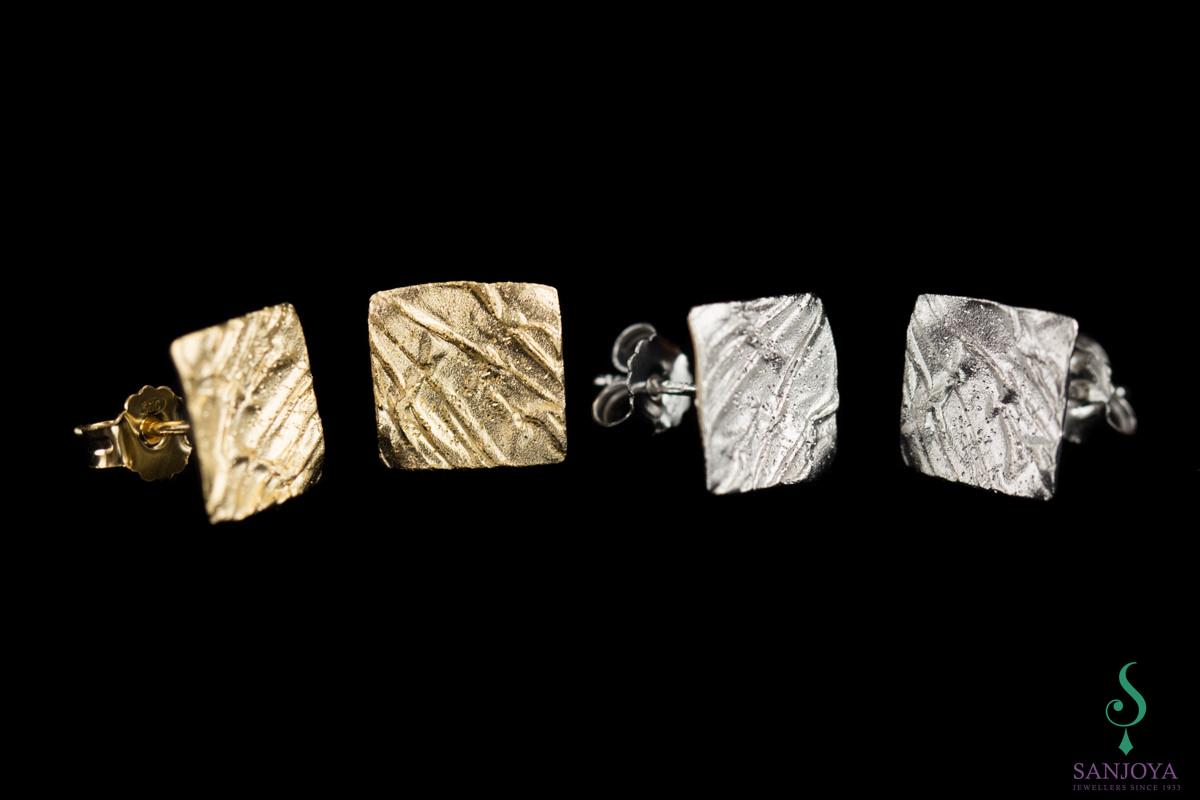 Schitterende vierkante oorbelletjes van verguld zilver