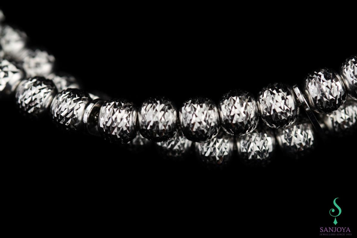 Verfijnde armband van twee rijen zilver 5mm