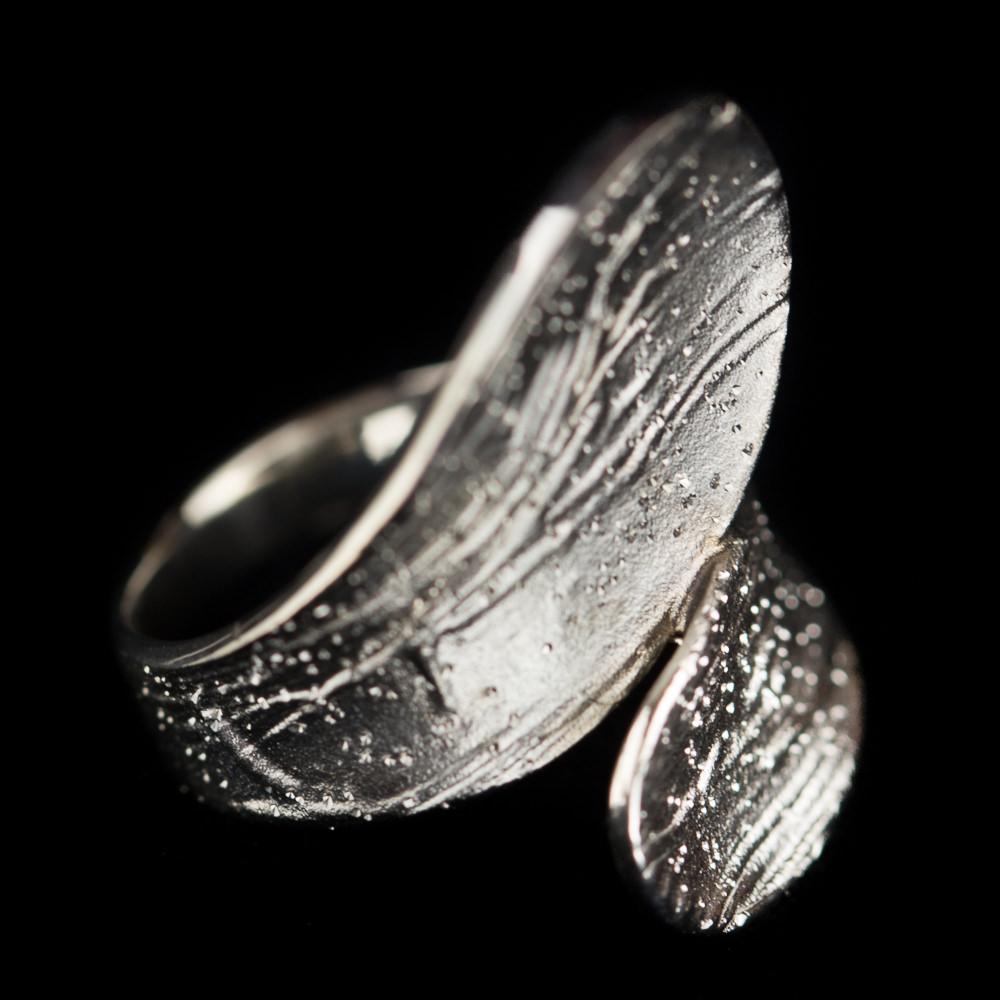 Tweekleurige schitterende ring, zilver en grijs