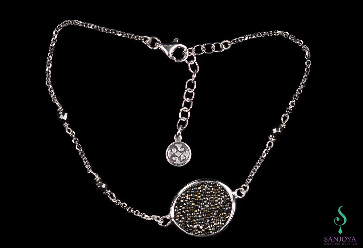 Armband van zilver en hematiet / grotere versie