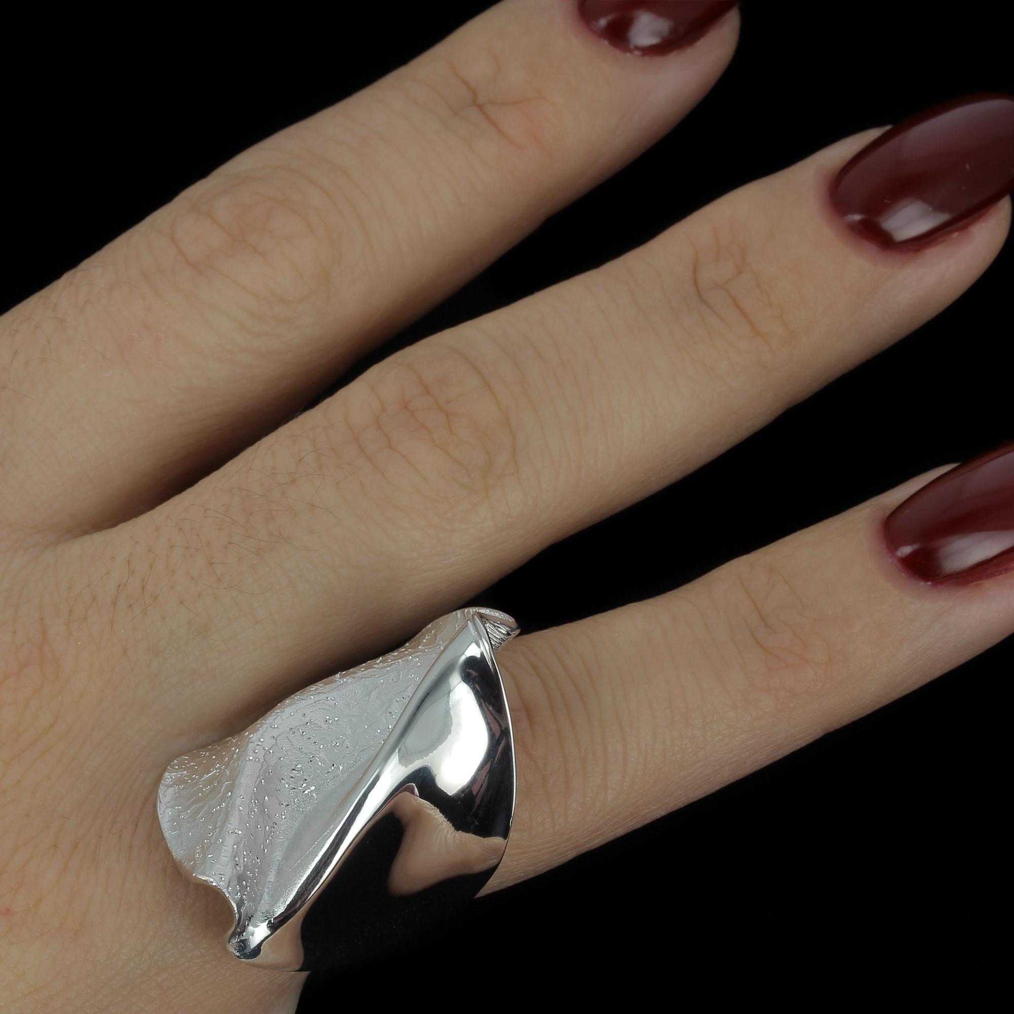 Schitterende zilveren ring, mat en gepolijst/gediamanteerd