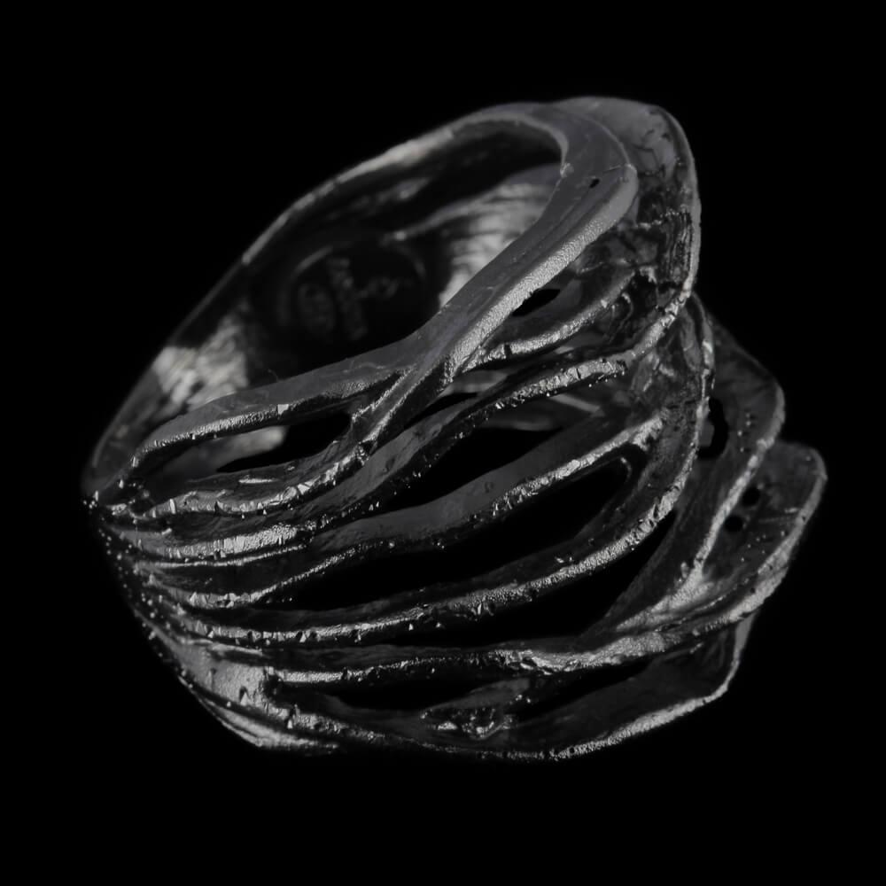 Magnifieke gediamanteerde ring van sterling zilver grijs
