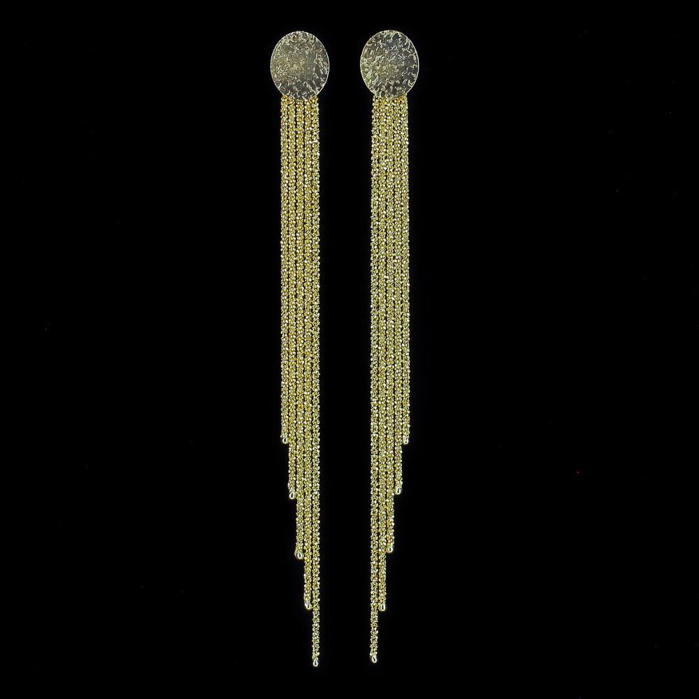 Sanjoya oorbellen, verguld en lang