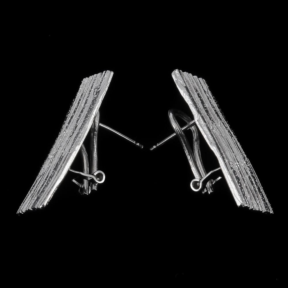 Zilveren rechthoekige en schitterende oorbellen