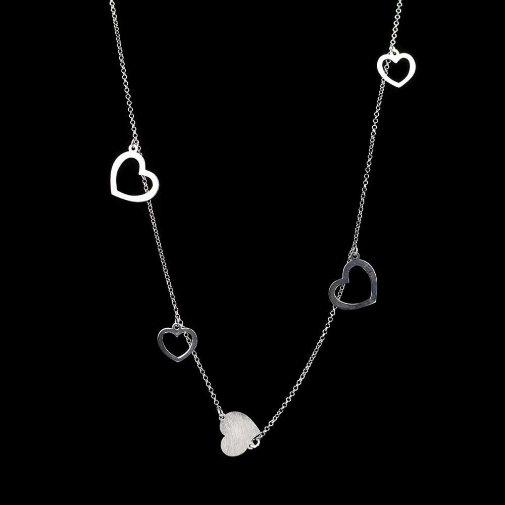 Lange zilveren hartjes ketting