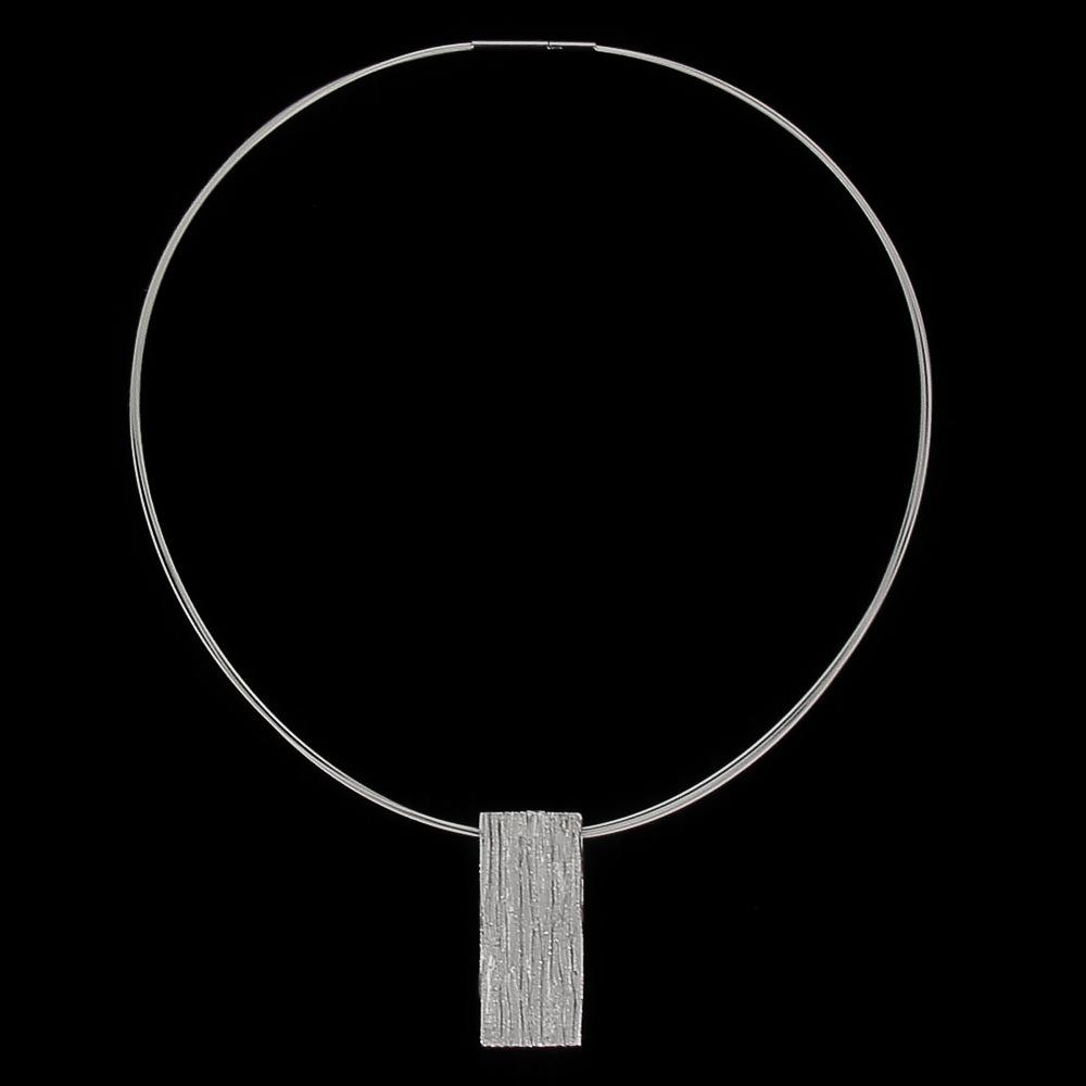 Zilveren rechthoekige schitterende hanger