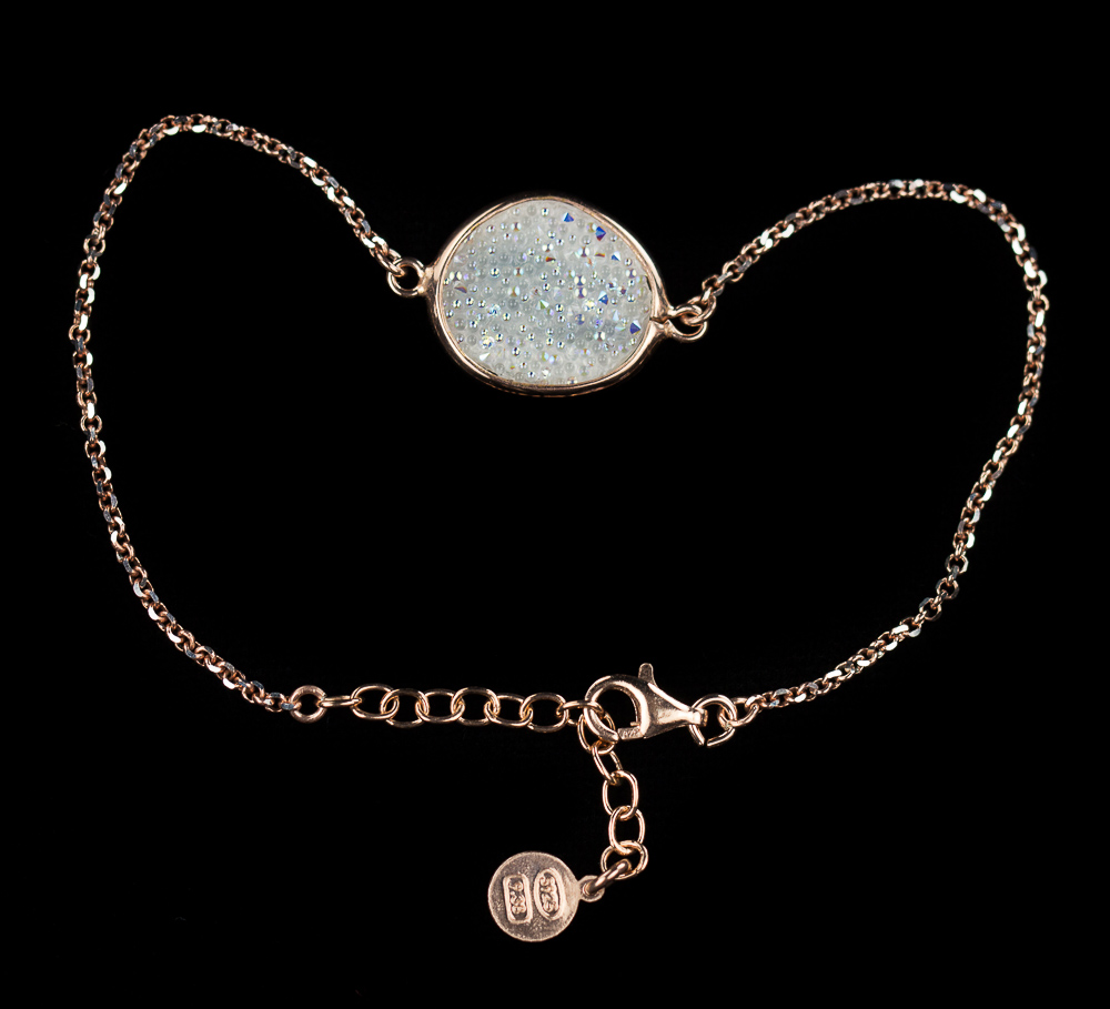 Armband van rosé en wit kristal
