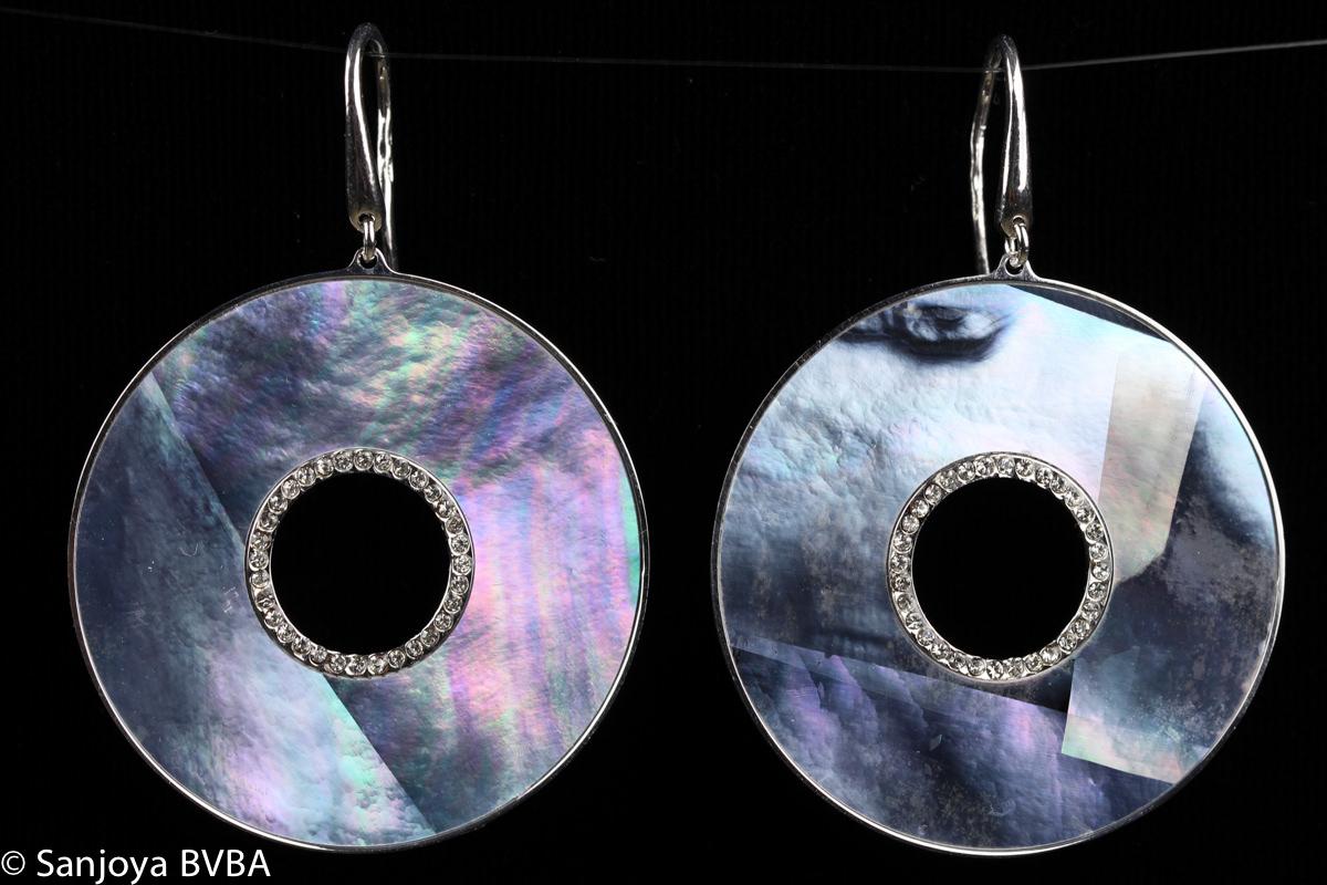Italiaanse ronde oorhangers, zilver, parelmoer en zirkonia
