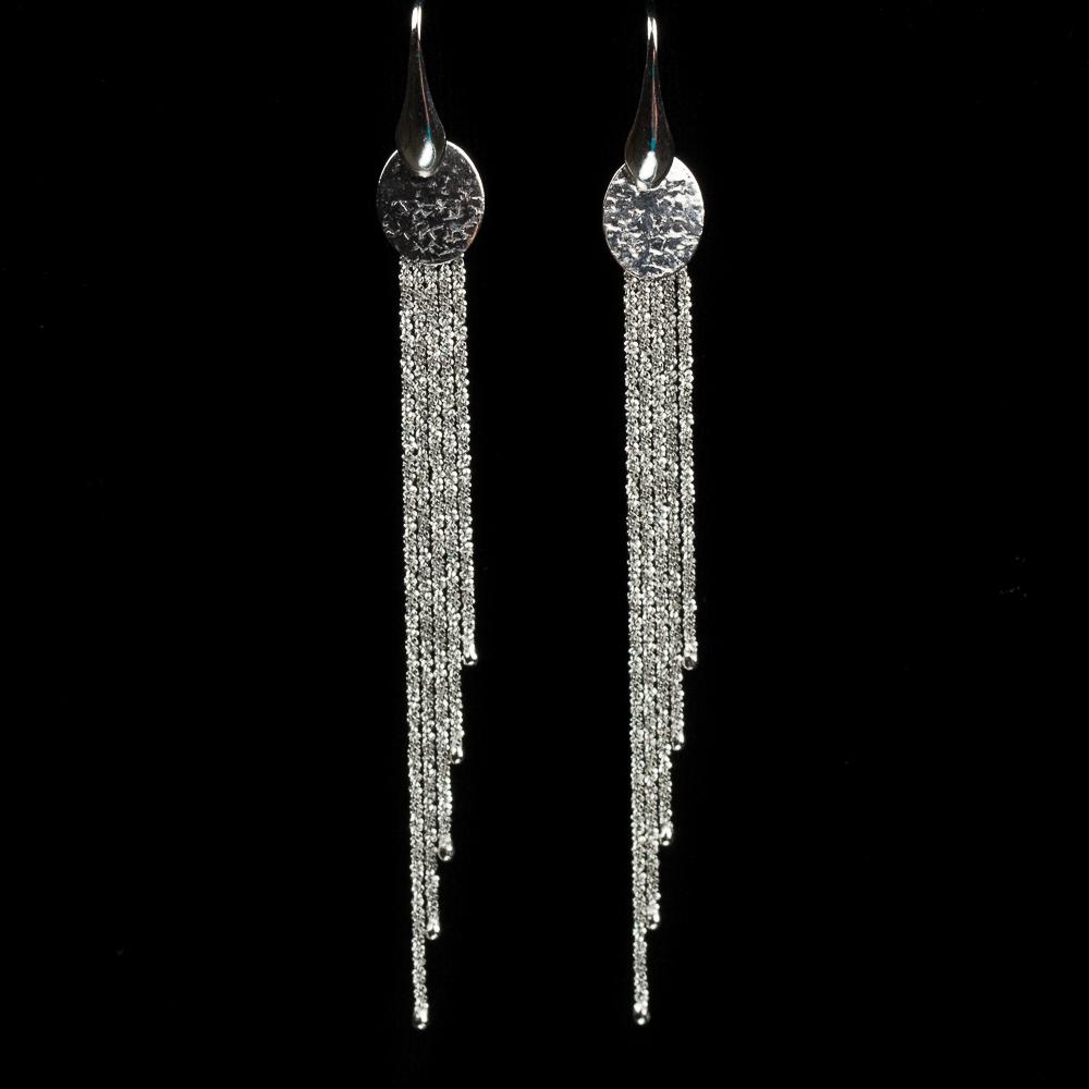 Sanjoya oorbellen, zilver en lang