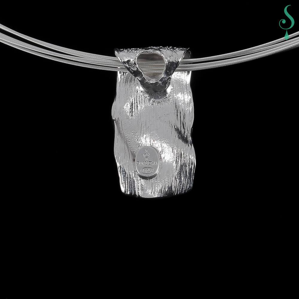 Witgouden rechthoekige glinsterende hanger van 18kt