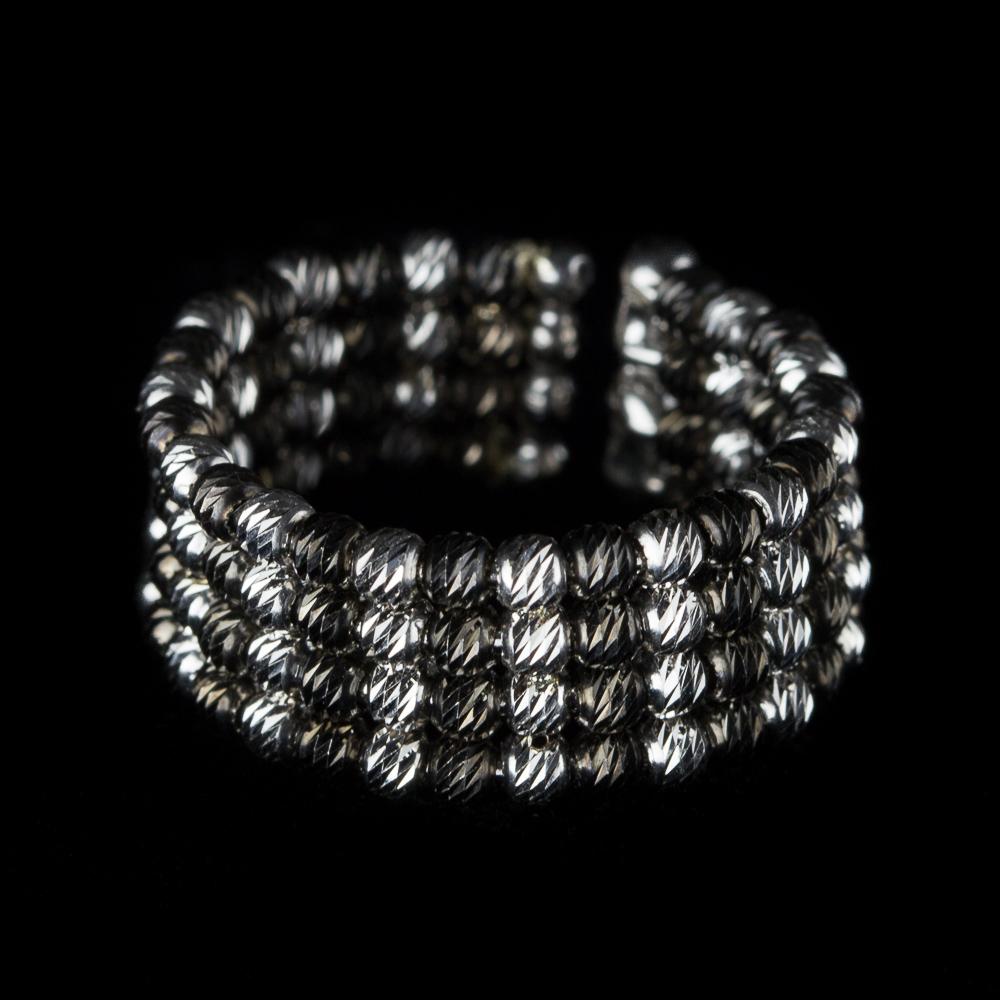 Italiaanse tweekleurige zilveren ring, 4 rijen