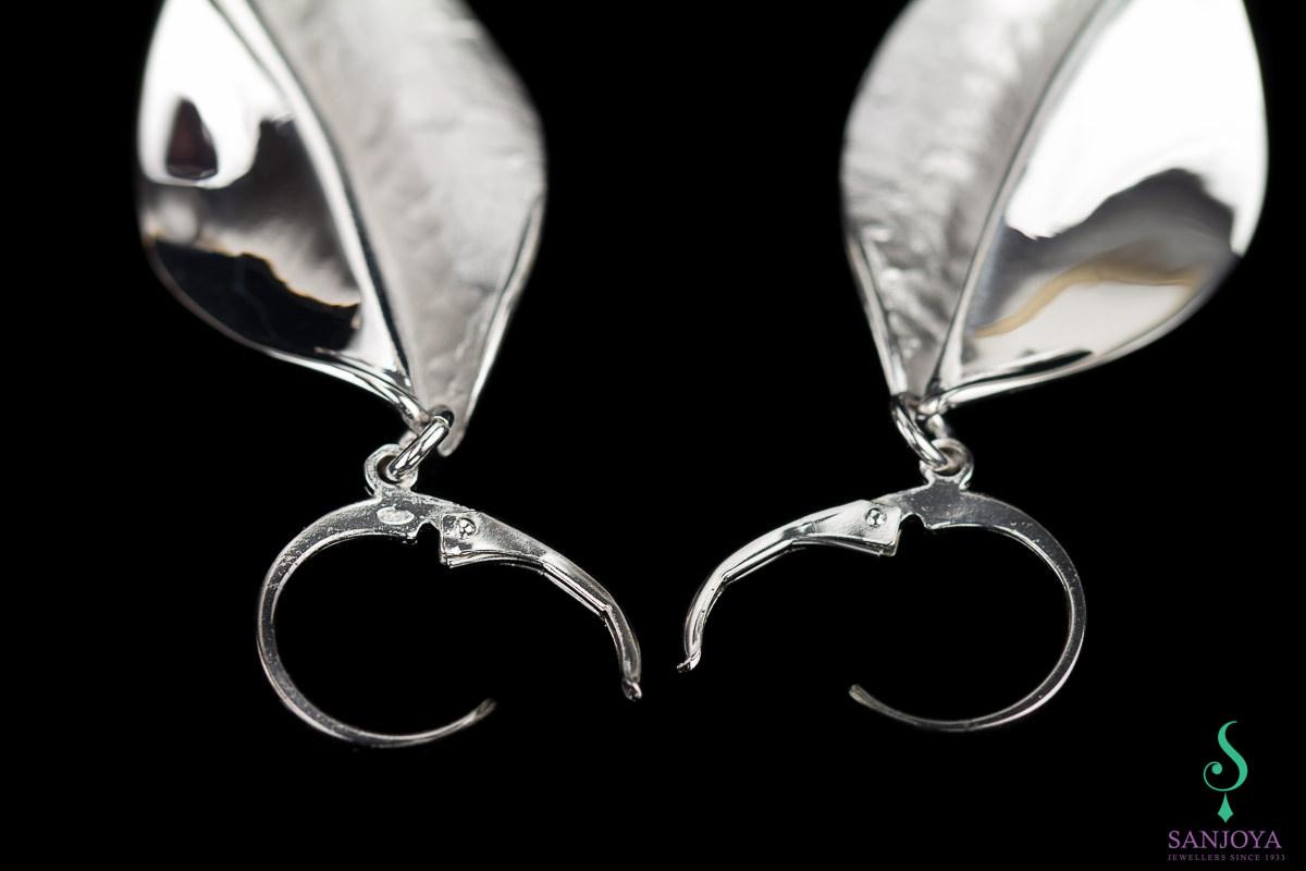 Afhangende oorbellen, mat zilver, gepolijst, gediamanteerd