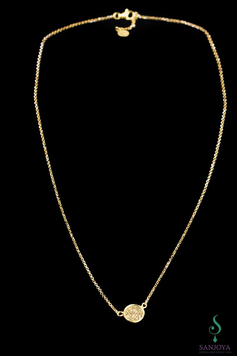 Korte Ketting van verguld zilver met fonkeling
