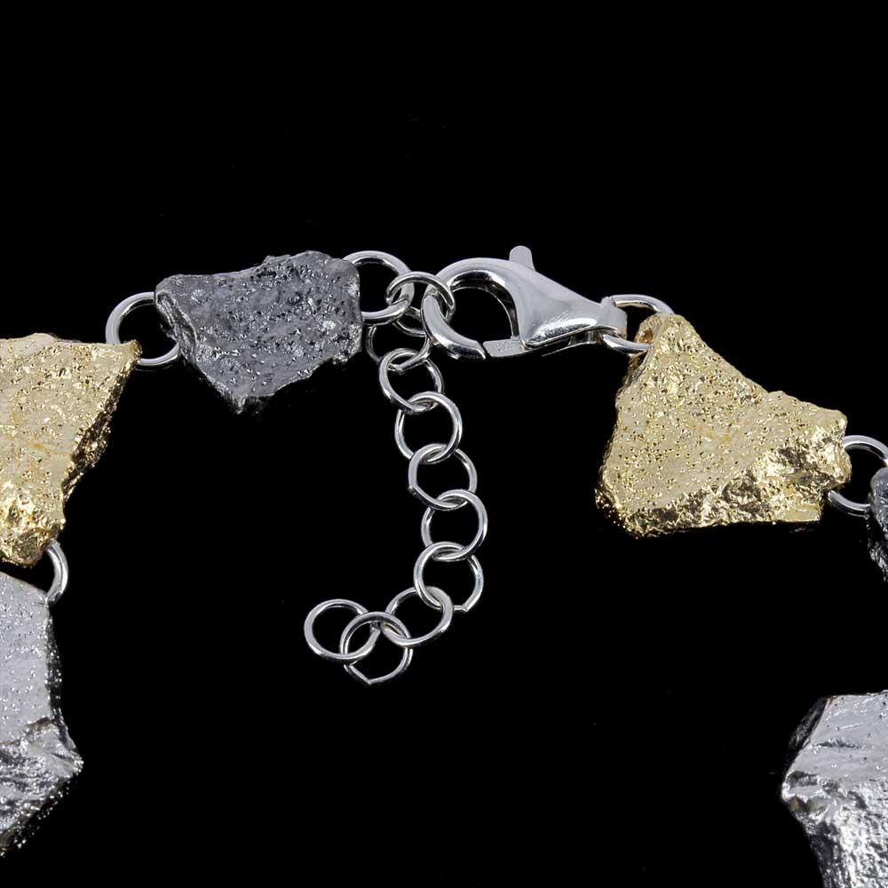Zilveren driekleurige armband