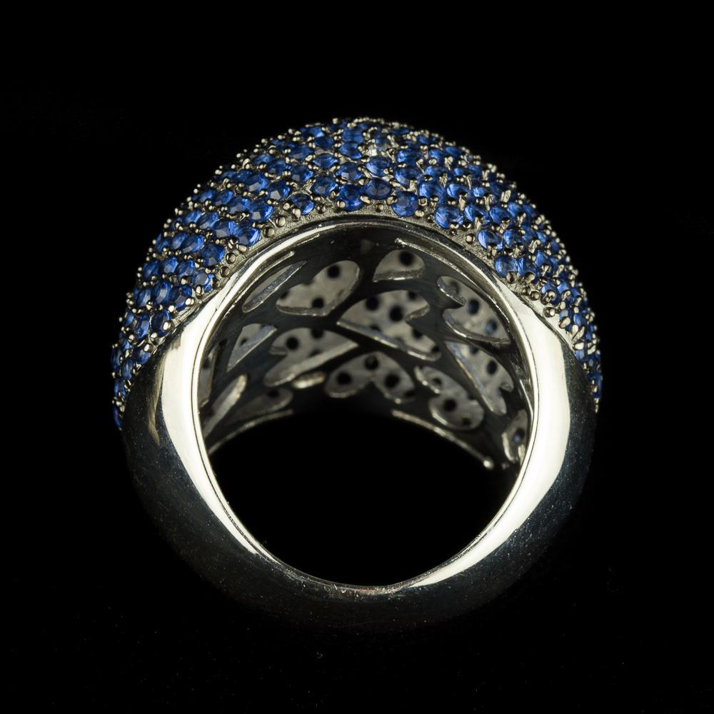 Zilveren blauwe zirkonia ring, Grieks design