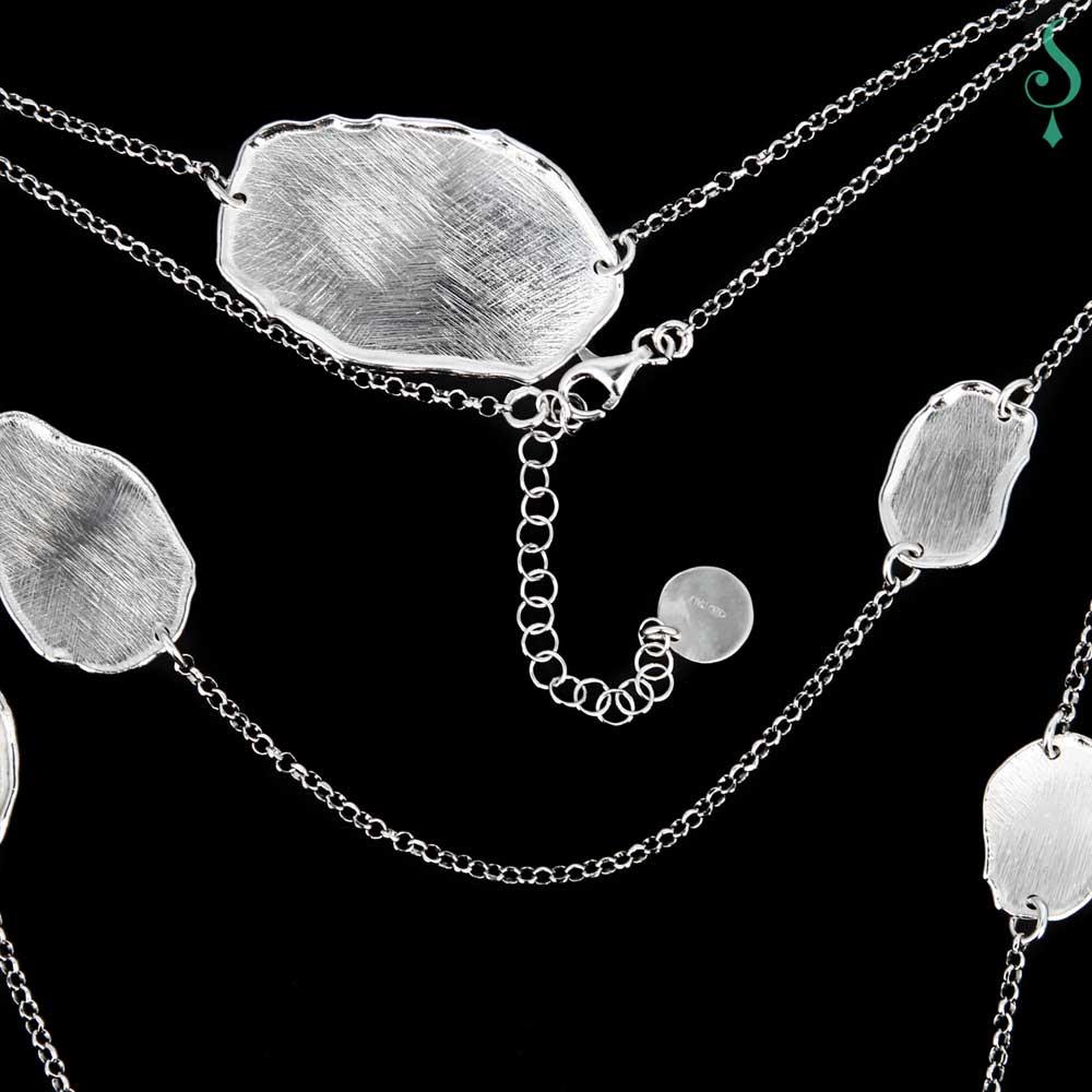 Lange zilveren ketting met ongehamerde ovale schakels