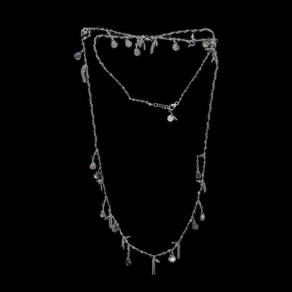 Lange zilveren ketting met labradoriet steentjes