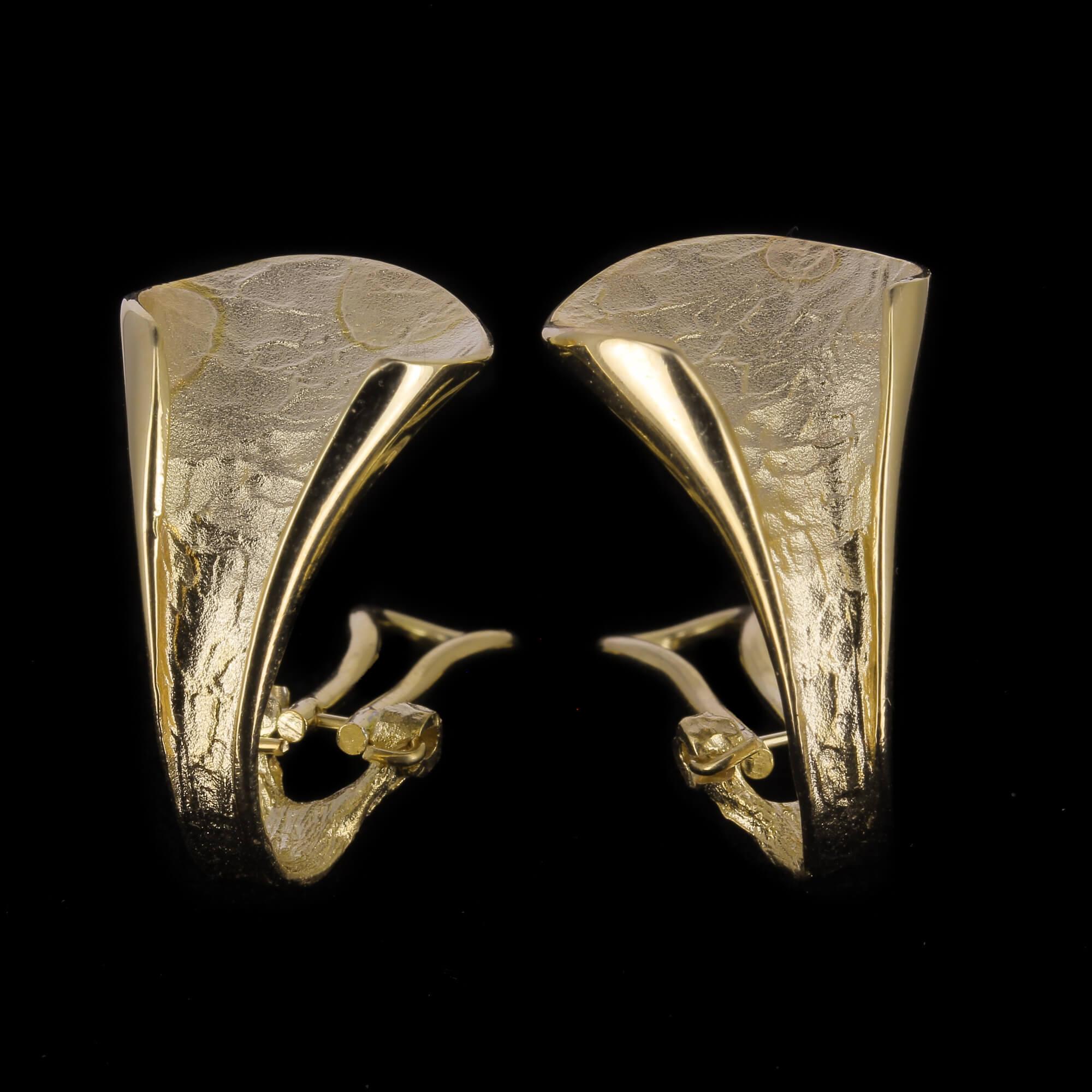 Vergulde en gepolijste oorbellen in V-vorm