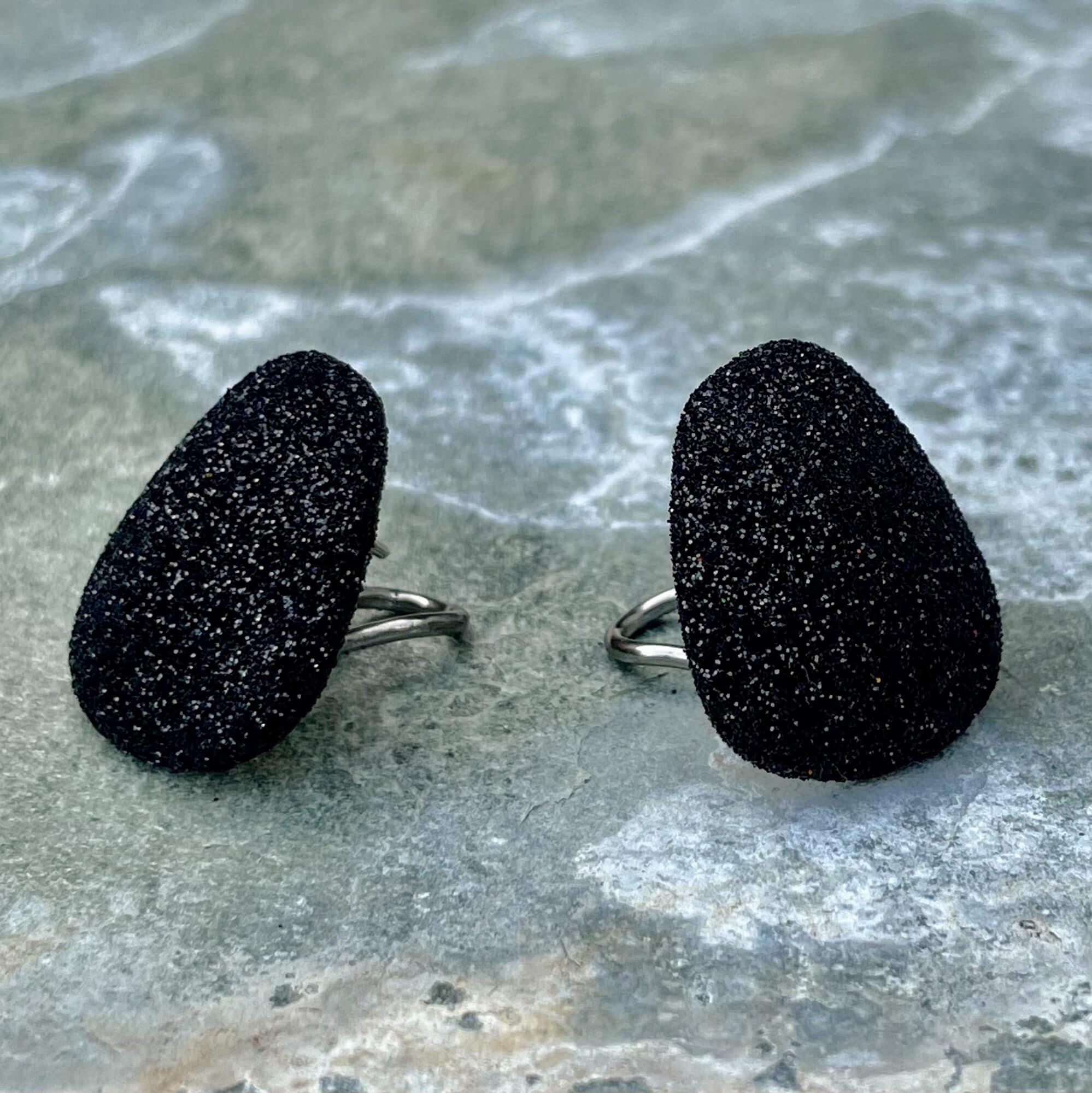 Schitterende zwarte oorbellen van zilver