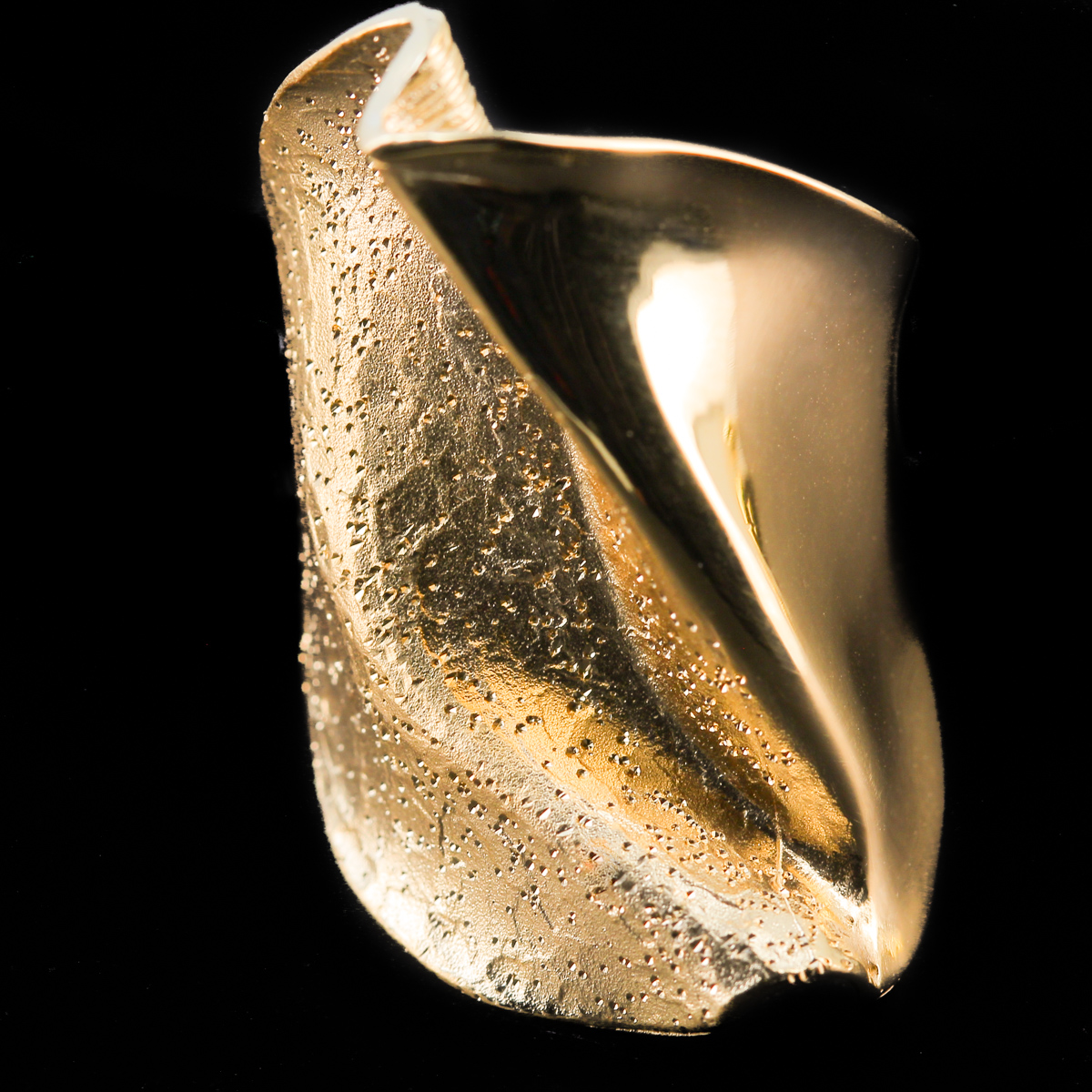 Vergulde ring gepolijst en gediamanteerd
