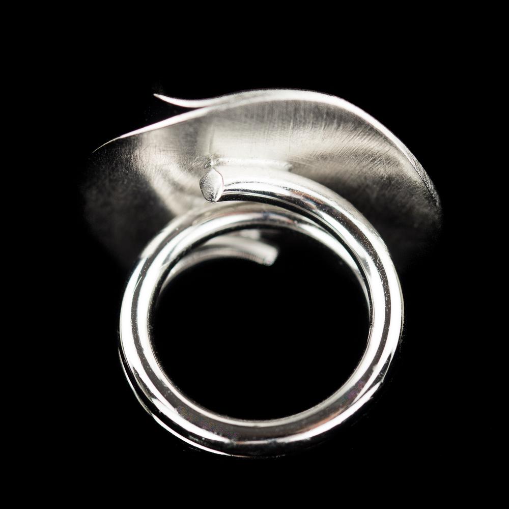 Zilveren cirkelvormige ring met gepolijste krul