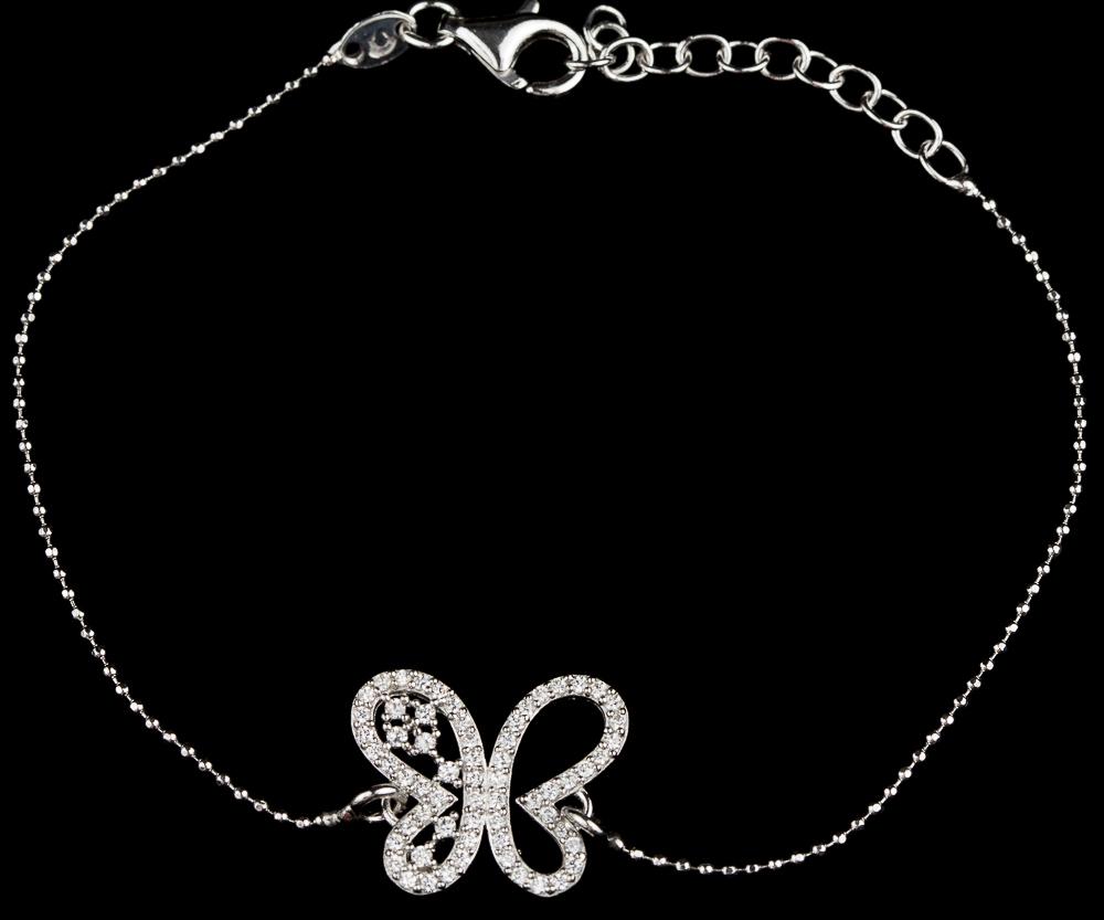 Vlinderarmbandje zilver en zirkonia, Grieks design