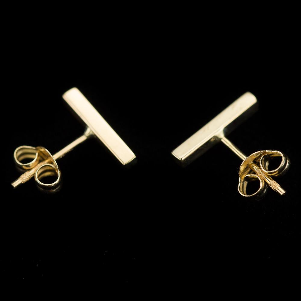 Gouden staafjes oorbellen, 18Kt