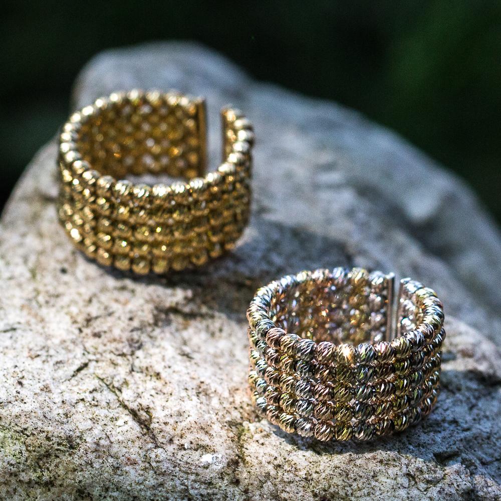 Italiaanse tweekleurige zilveren ring, 5 rijen