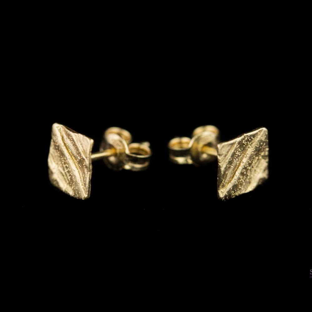 Gele 18Kt vierkante en gediamanteerde oorbellen 'Groot'