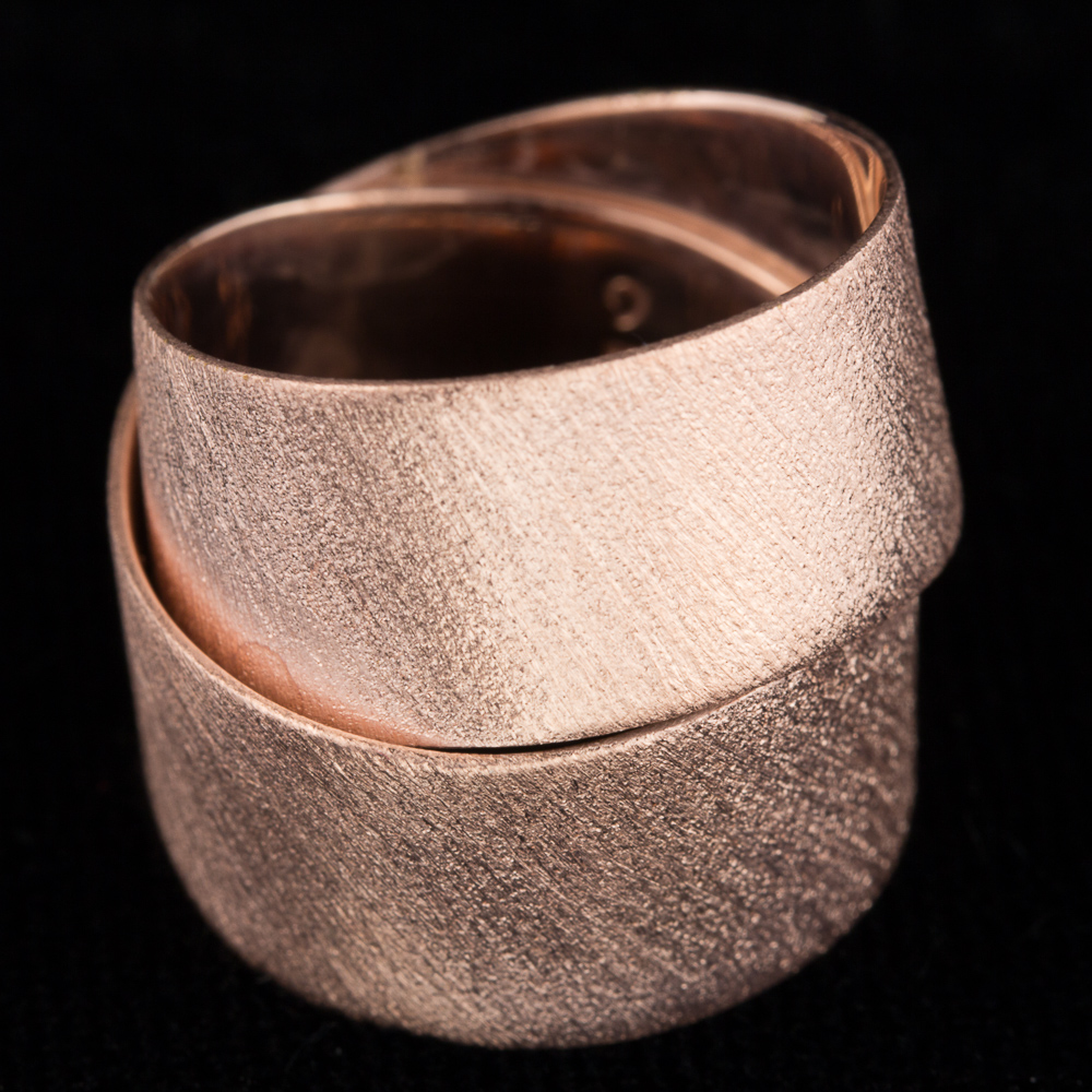 Rosé strakke ring met 2 rijen