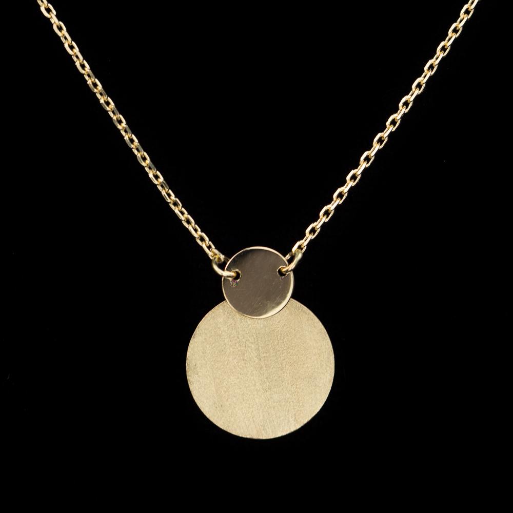 Gouden ketting met 2 cirkeltjes als hanger, 18Kt